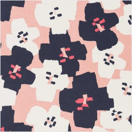 Tissu coton enduit Rico Design Okina Hana fleur - rose x 25cm