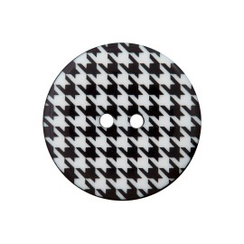 20 mm Polyester Button - Black/White Houndstooth