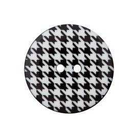 Bouton Polyester Pied-De-Poule 20 mm - Noir/Blanc