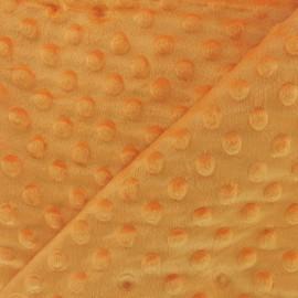 Tissu Velours minkee doux relief à pois - Mandarine x 10cm