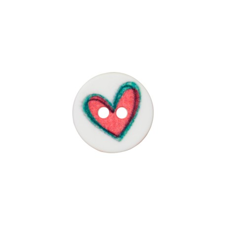 12 mm Polyester Button - White Creative Heart
