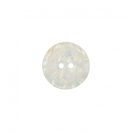 12 mm Polyester Button - White Iridescent Dream