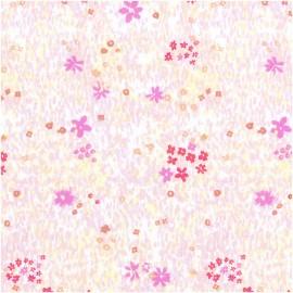 Tissu Popeline Rico Design - Champs de fleurs - blanc/fluo x 10cm