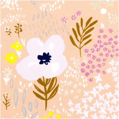 Tissu Popeline Rico Design - Fleurs dorées - rose Pêche x 10cm