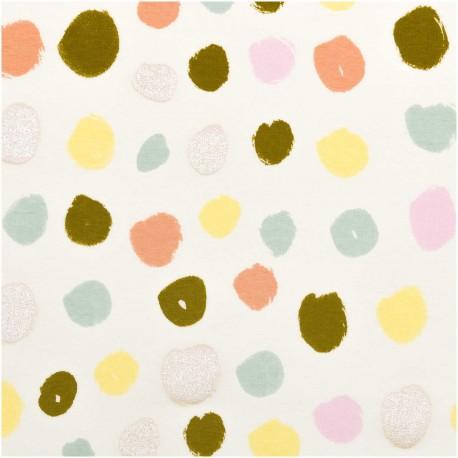 Rico Design jersey Cotton fabric - light green big dot x 10cm