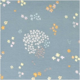 Rico Design jersey Cotton fabric - bluish grey/gold Garden x 10cm
