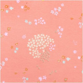 Rico Design jersey Cotton fabric - pink /gold Garden x 10cm