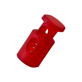 18 mm Translucent Polyester Cord Lock Stopper - Red