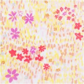 ♥ Coupon 50 cm X 140 cm ♥ Tissu Double Gaze de coton Rico Design - Champs de fleurs - blanc