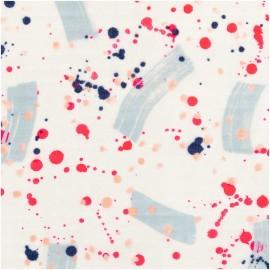 ♥ Coupon 30 cm X 140 cm ♥ Rico Design Double gauze Cotton fabric - white Painting