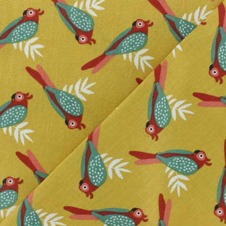 Cretonne cotton fabric - curry yellow Kota x 10cm