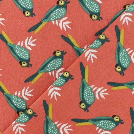 Tissu coton cretonne Kota - corail x 10cm