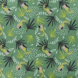 Cretonne cotton fabric - green Lakoa x 10cm