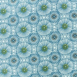 Cretonne cotton fabric - Blue Bissau x 10cm