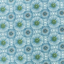 Tissu coton cretonne Bissau - bleu x 10cm