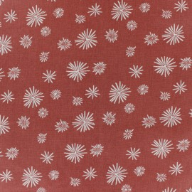 Cretonne cotton fabric - Brick red Zelum x 10cm