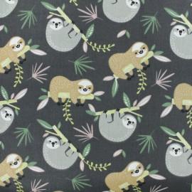 Cretonne cotton fabric - Grey Sloth x 10cm