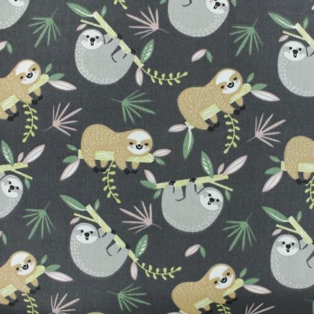 Tissu coton cretonne Paresseux - gris x 10cm