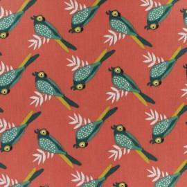 Tissu coton cretonne enduit Kota - corail x 10cm