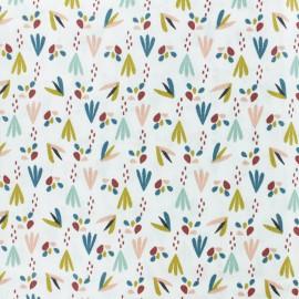 Tissu coton cretonne Patna - rouge/blanc x 10cm