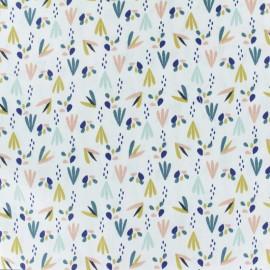 Tissu coton cretonne Patna - bleu/blanc x 10cm