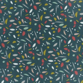 Tissu coton cretonne Warren - vert paon x 10cm