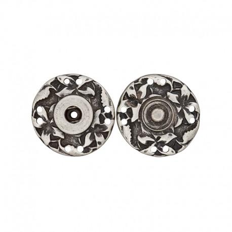 28 mm Metal Snap Button - Ancient Silver Sculpt