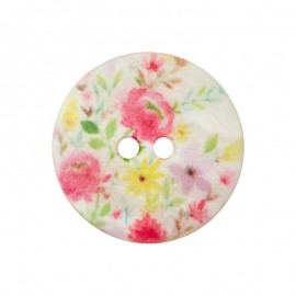 15 mm Polyester Button - White Wild Flower