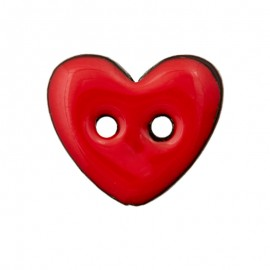 Coconut Wood Button - Red Lovely Heart