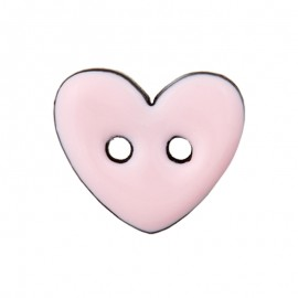 Coconut Wood Button - Pink Lovely Heart