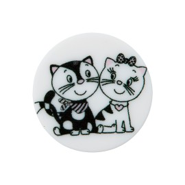 Bouton Polyester Chaton Amoureux 20 mm - Blanc
