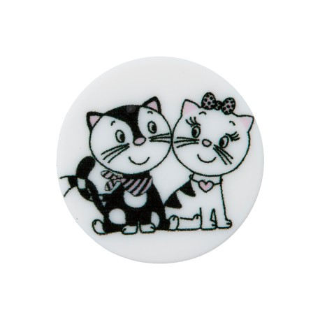 20 mm Polyester Button - White Cat in Love