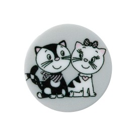 20 mm Polyester Button - Grey Cat in Love
