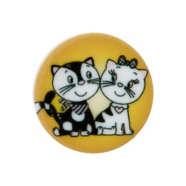 20 mm Polyester Button - Mustard Cat in Love