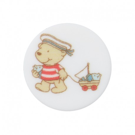 18 mm Polyester Button - Walk Enzo the Sailor