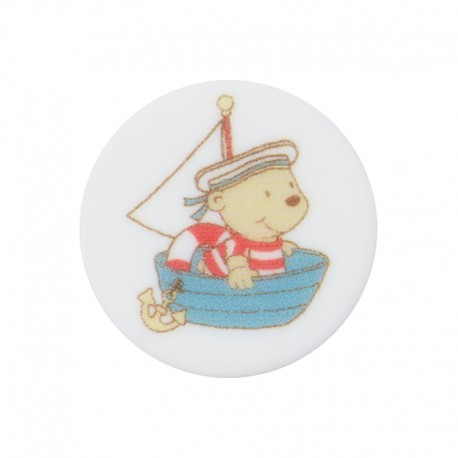 18 mm Polyester Button - Boat Enzo the Sailor