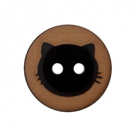 15 mm Polyester Button - Brown Cat Shadow