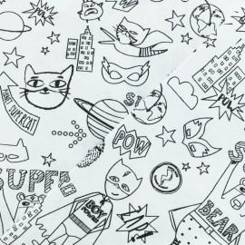 Tissu coton à colorier Super-héros - noir/blanc x 10cm