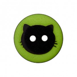 15 mm Polyester Button - Green Cat Shadow