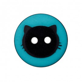15 mm Polyester Button - Turquoise Cat Shadow