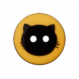 Bouton Polyester Cat Shadow 15 mm - Moutarde