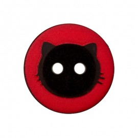 15 mm Polyester Button - Red Cat Shadow