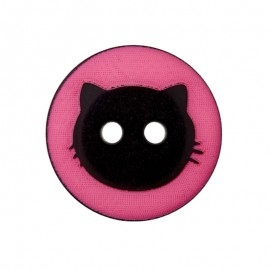 15 mm Polyester Button - Fuchsia Cat Shadow