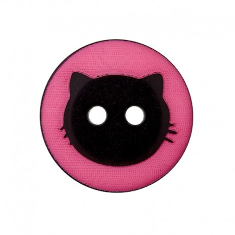 Bouton Polyester Cat Shadow 15 mm - Fuchsia
