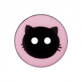 15 mm Polyester Button - Pink Cat Shadow