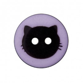 15 mm Polyester Button - Lilac Cat Shadow