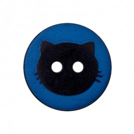 15 mm Polyester Button - Blue Cat Shadow