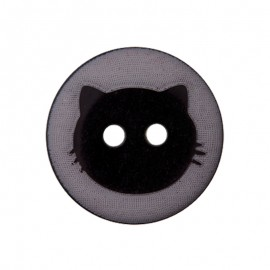 15 mm Polyester Button - Grey Cat Shadow