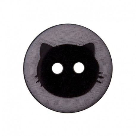 Bouton Polyester Cat Shadow 15 mm - Gris