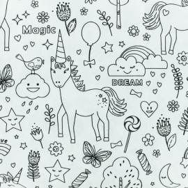 Coloring Cotton fabric- black/white magic unicorn x 10cm